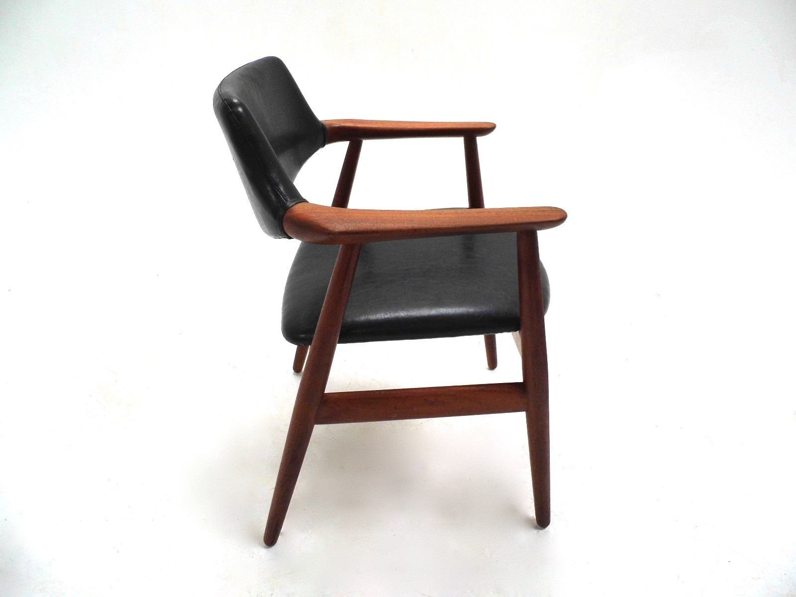Danish Teak amp Black Vinyl Desk Armchair by Erik Kirkegaard  : danish teak black vinyl desk armchair by erik kirkegaard for glostrup mobelfabrik 1960s 10 from www.pamono.com size 1600 x 1200 jpeg 101kB