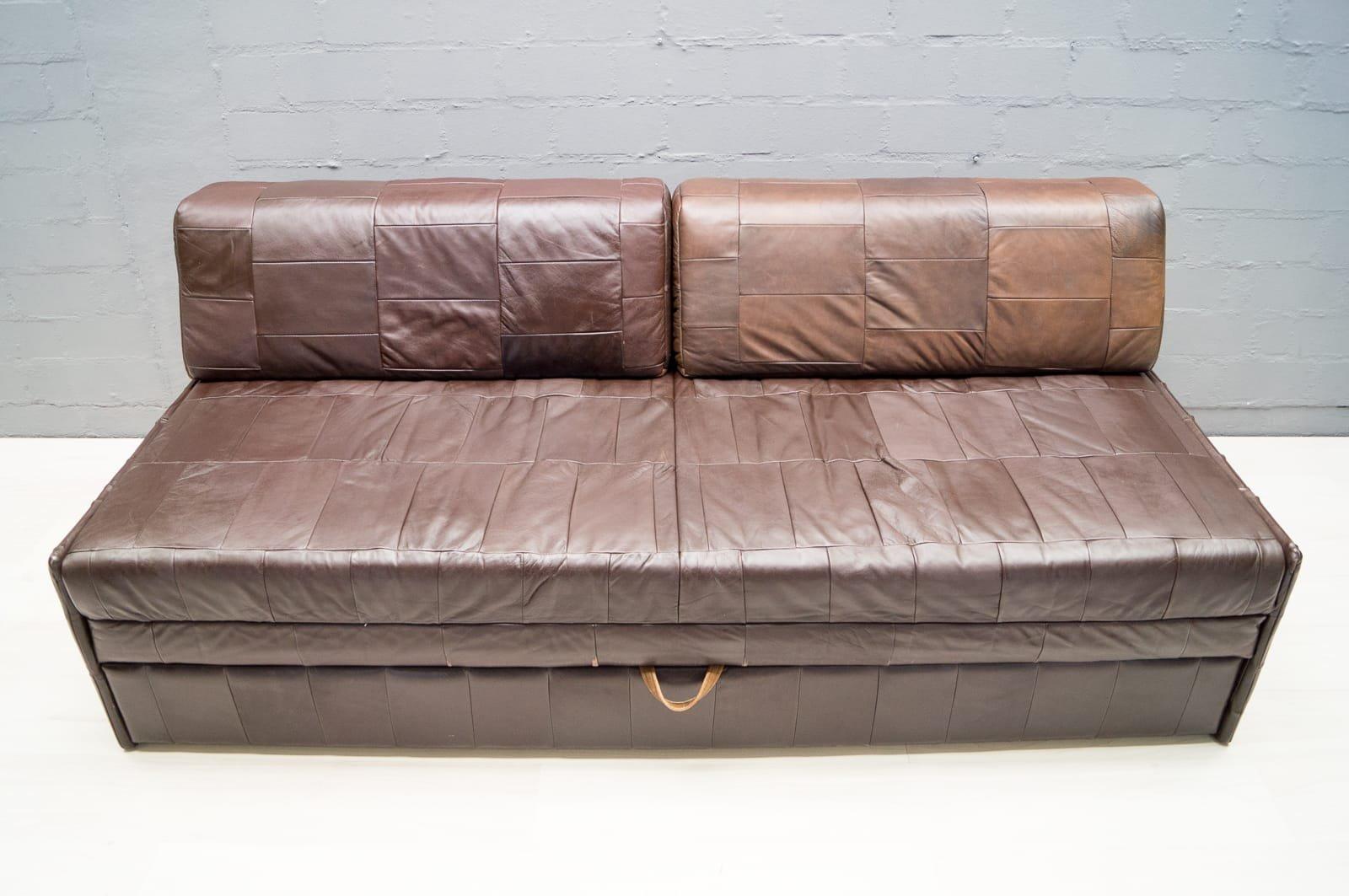 vintage patchwork leather sofa 1960s for sale at pamono. Black Bedroom Furniture Sets. Home Design Ideas