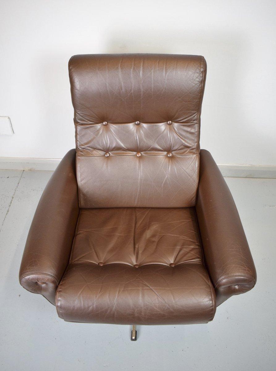 d nischer mid century leder drehsessel 1970er bei pamono kaufen. Black Bedroom Furniture Sets. Home Design Ideas