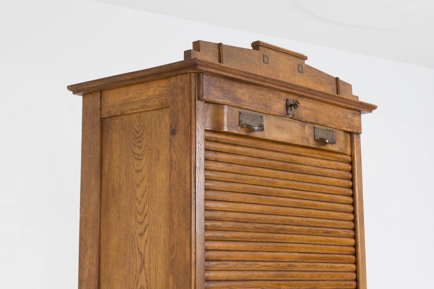 Art Nouveau Dutch Roll Top Cabinet 1900s For Sale At Pamono