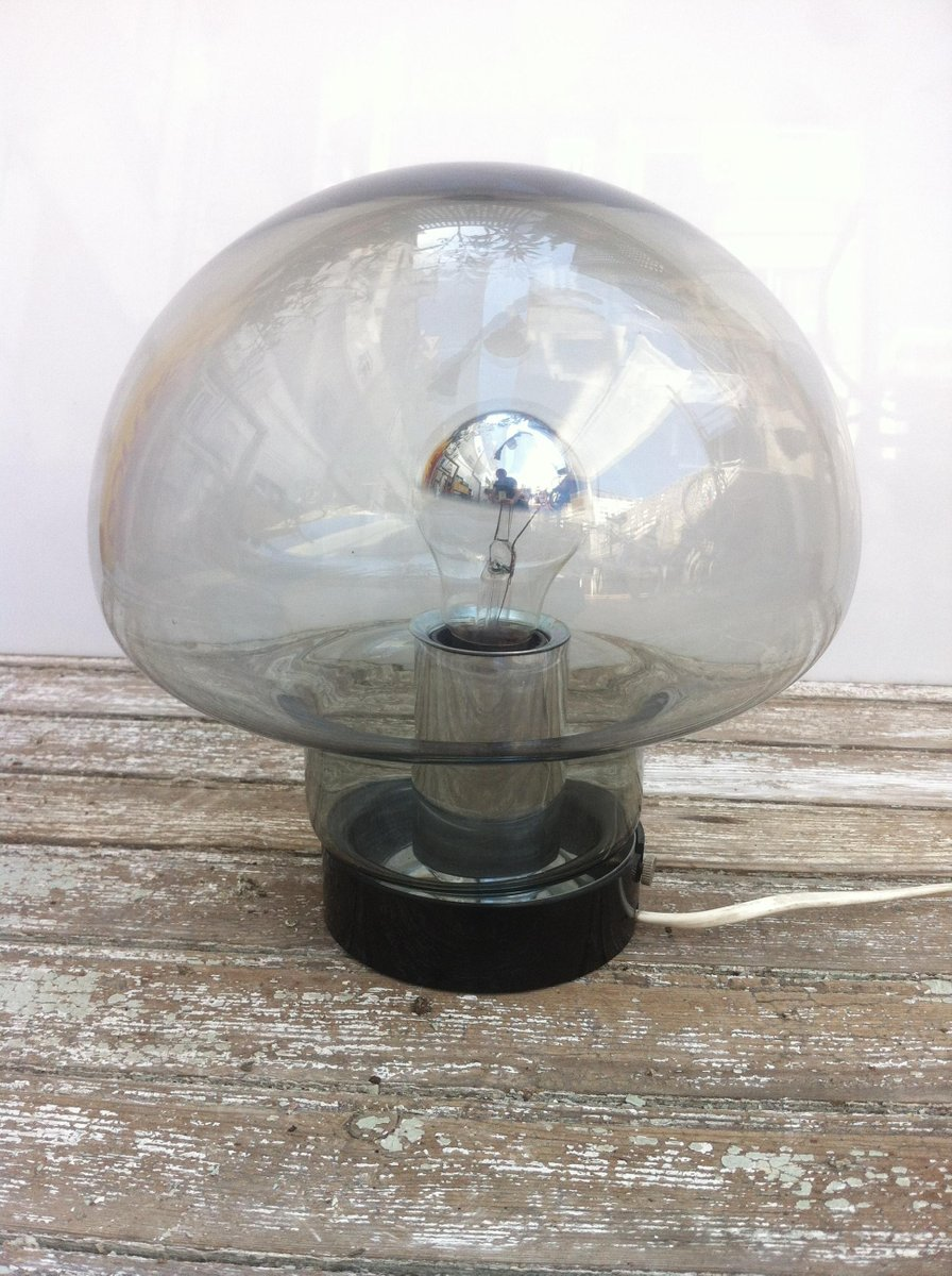space age mushroom smoked glass table lamp from peill putzler 1960s for sale at pamono. Black Bedroom Furniture Sets. Home Design Ideas