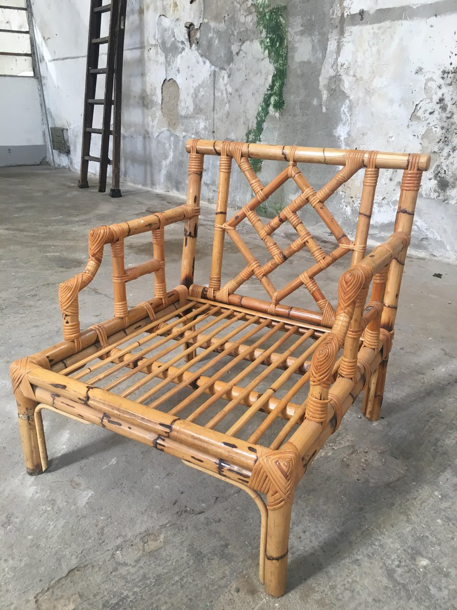 Bamboo divan and two armchairs 1960s for sale at pamono for Divan vintage