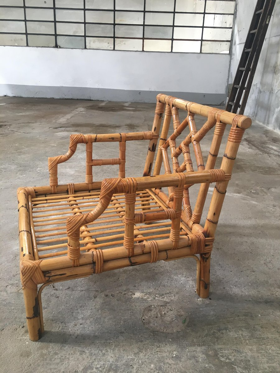 Bamboo divan and two armchairs 1960s for sale at pamono for 2 armchairs for sale