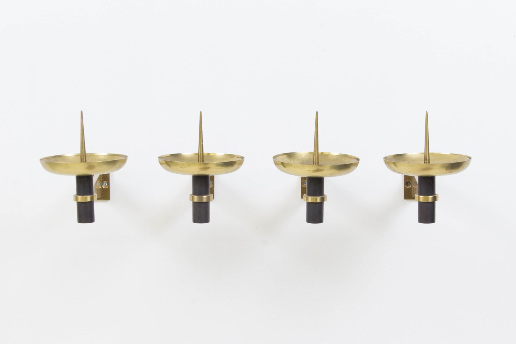 Mid Century French Modern Wall Candle Sconces, 1950s, Set Of 4