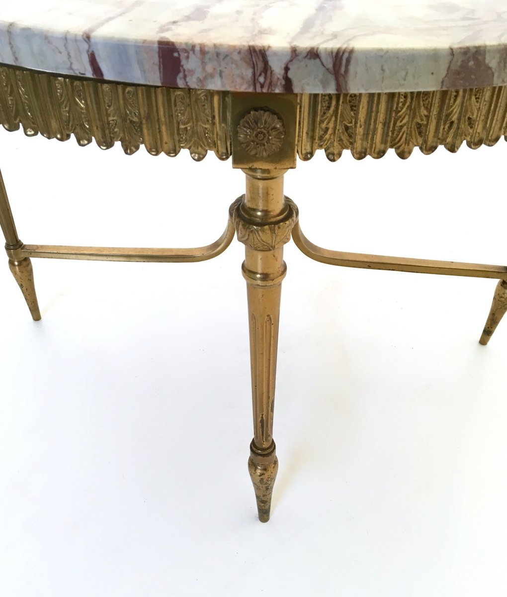 italian marble and brass coffee table, 1950s for sale at pamono