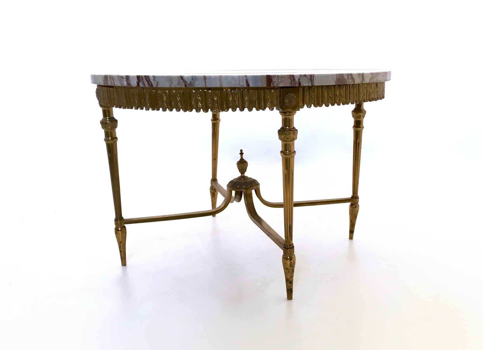 Italian Marble and Brass Coffee Table 1950s for sale at Pamono