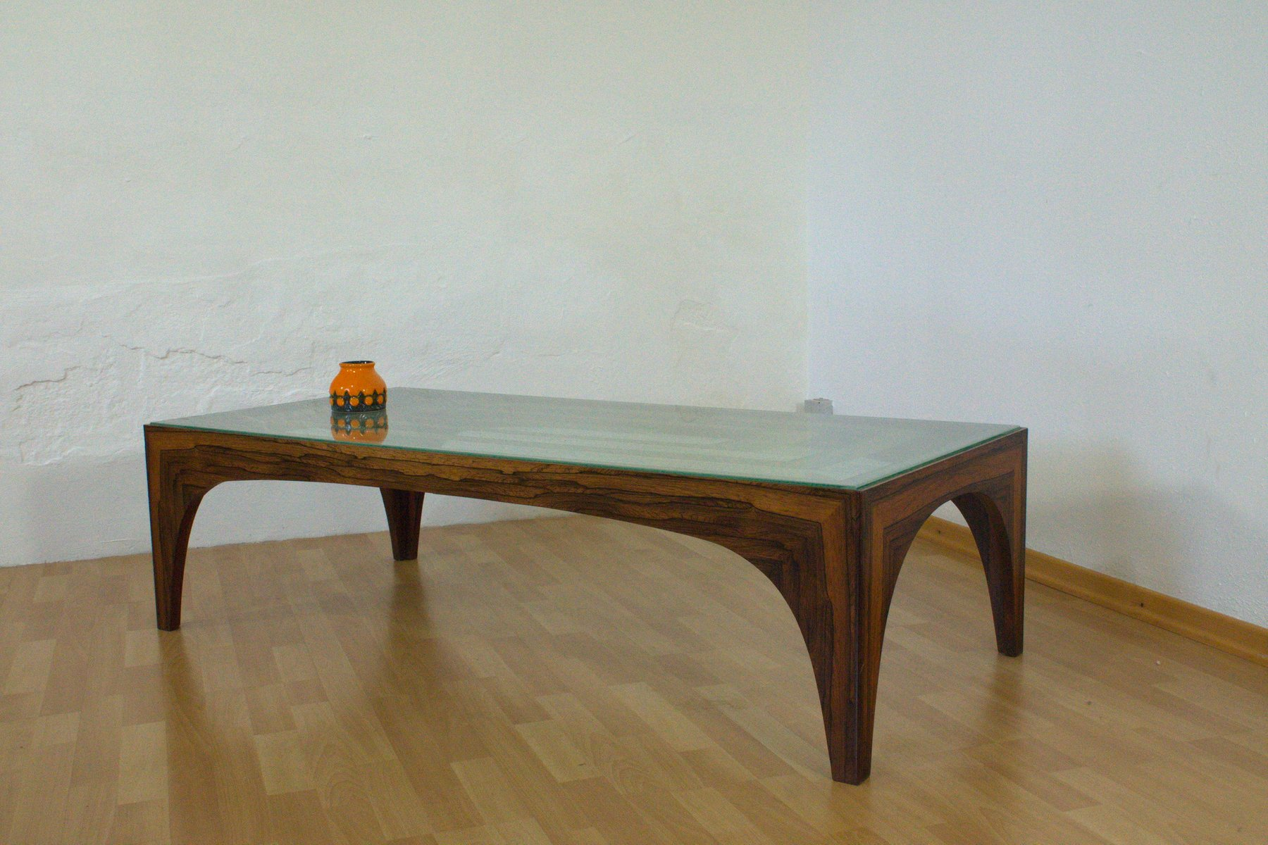 Vintage Rosewood Coffee Table with Etched Glass Top 1960s for