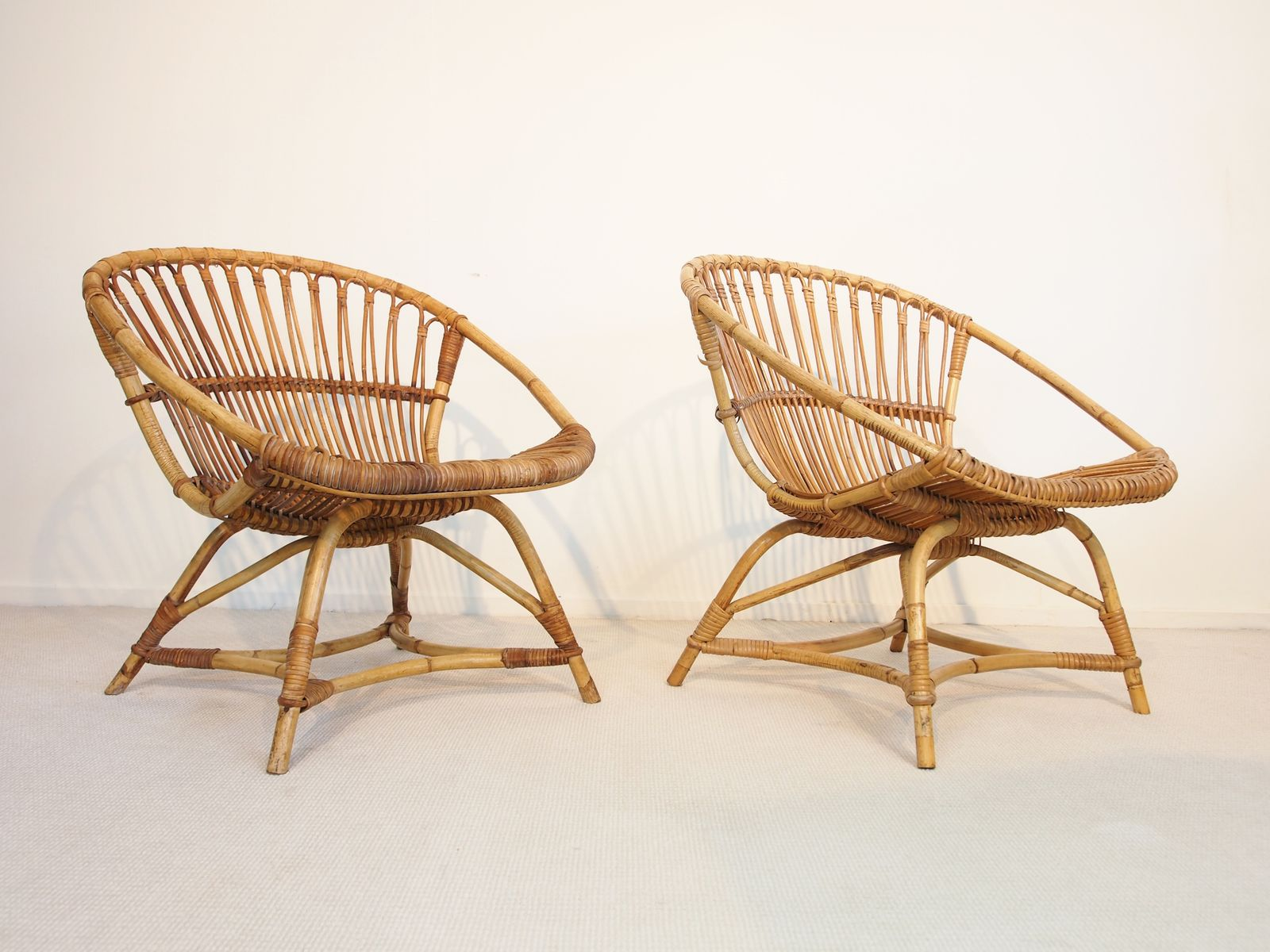 Mid Century Dutch Rattan Lounge Chairs By Dirk Van Sliedregt For