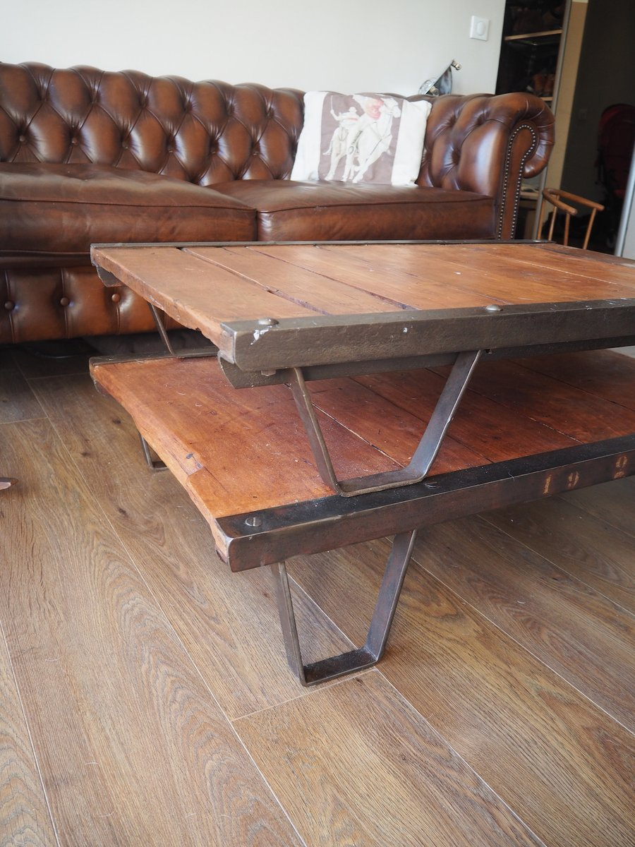 table basse industrielle palette france 1950s en vente sur pamono. Black Bedroom Furniture Sets. Home Design Ideas