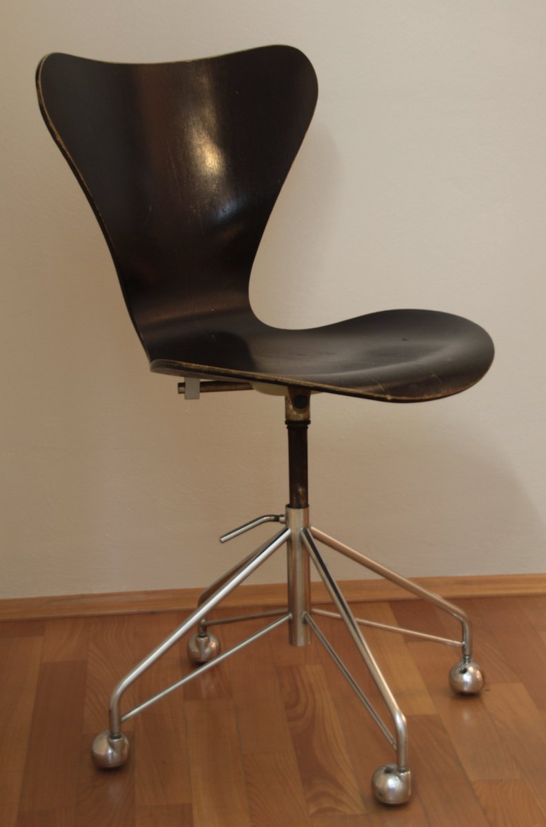vintage 3117 butterfly series 7 swivel chair by arne jacobsen for fritz hansen for sale at pamono. Black Bedroom Furniture Sets. Home Design Ideas