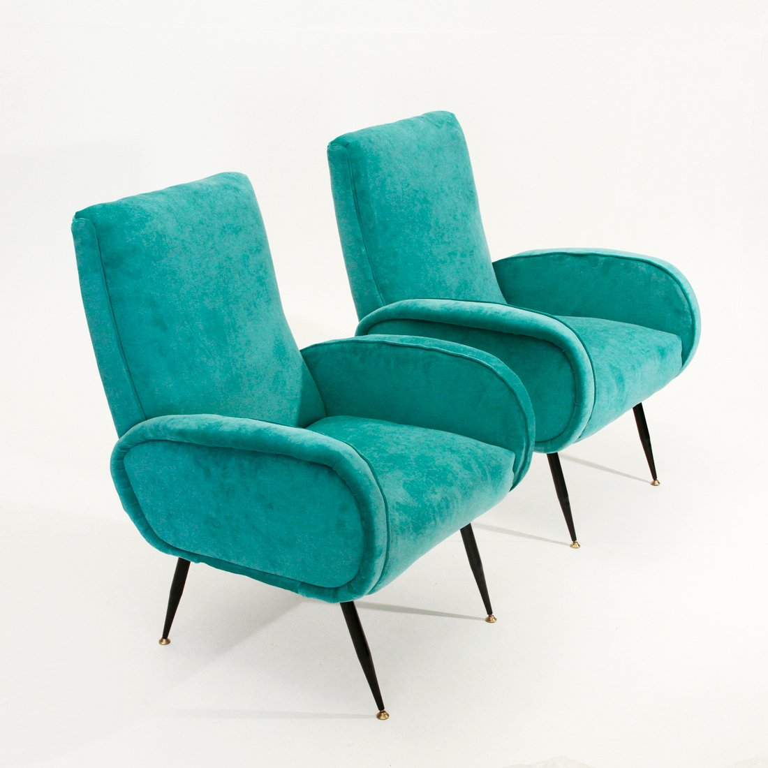 Italian Mid Century Blue Velvet Armchairs 1950s Set Of 2