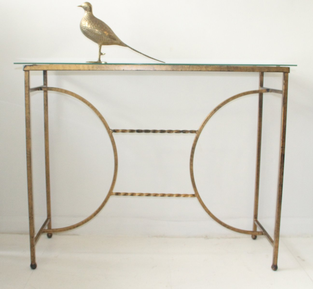 Gilt metal glass console table 1950s for sale at pamono for Metal and glass console tables