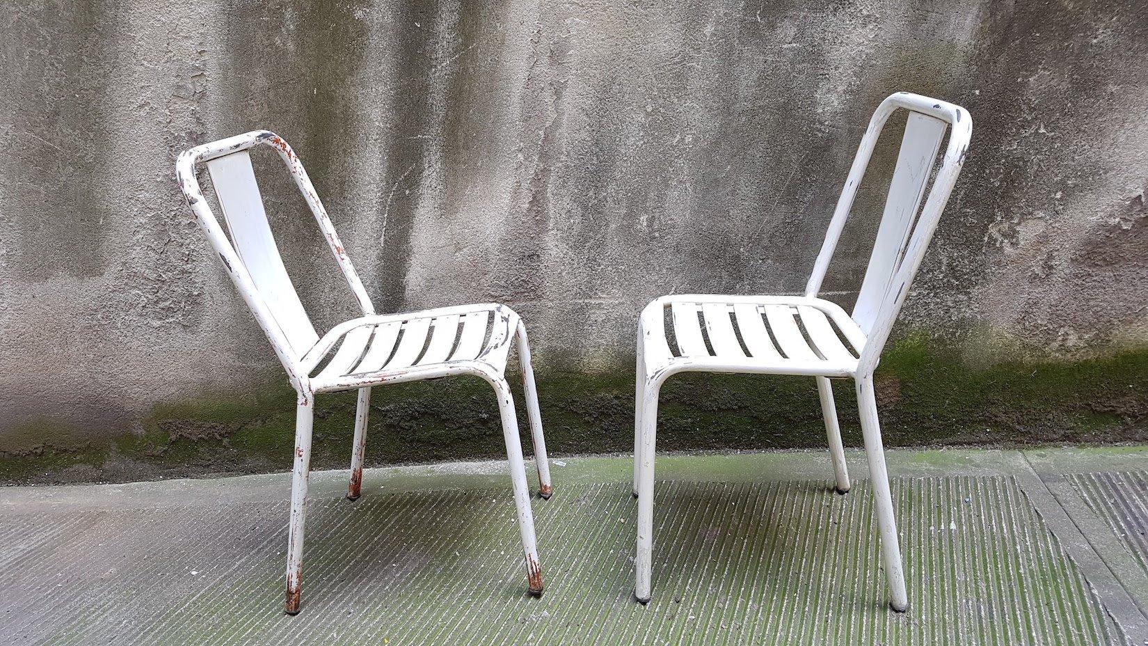 vintage modell t4 stuhl in wei von xavier pauchard f r. Black Bedroom Furniture Sets. Home Design Ideas