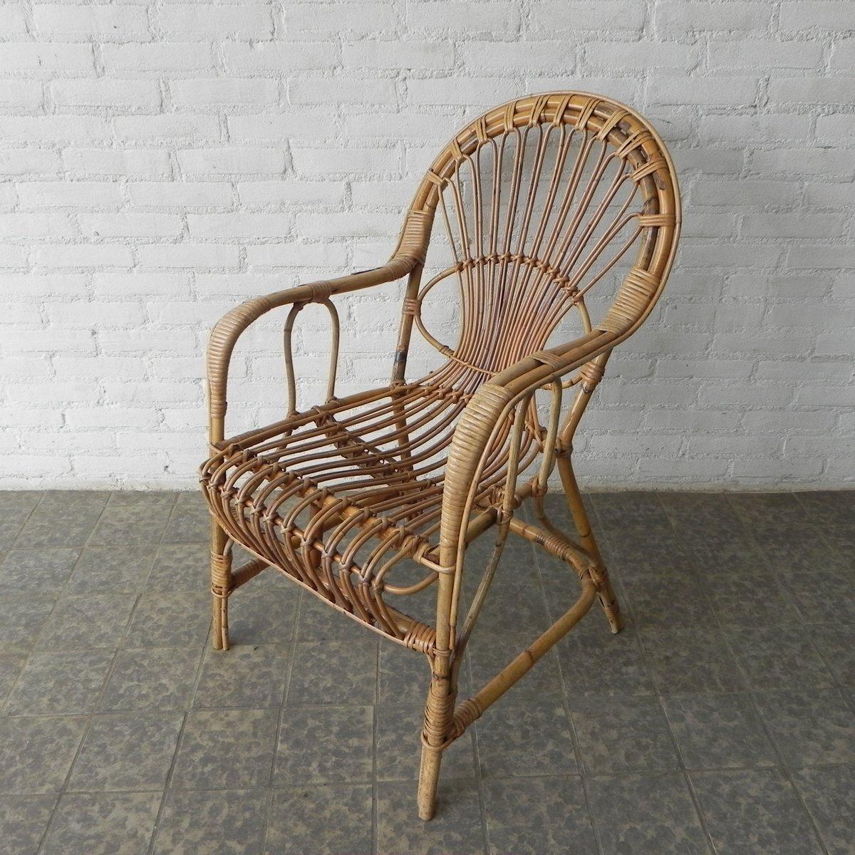 Fauteuil Vintage En Rotin Et Bambou En Vente Sur Pamono - Fauteuil bambou