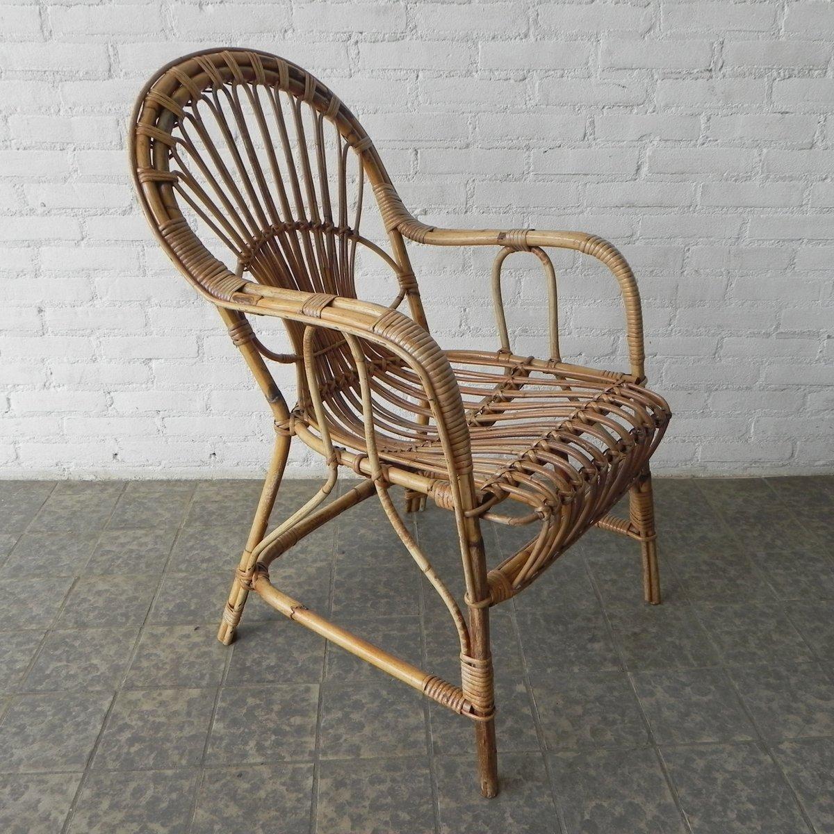 Vintage rattan rocking chair - Vintage Rattan Bamboo Armchair