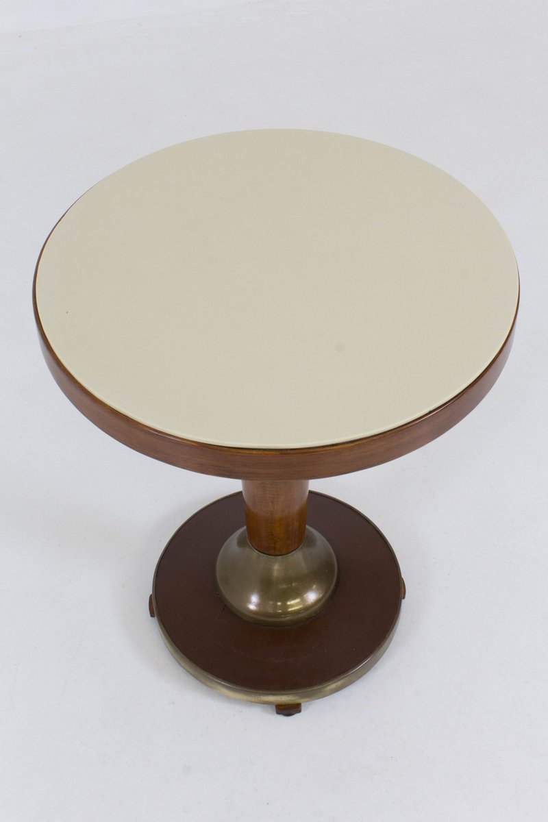 French Art Deco Side Table With Glass Top, 1930s