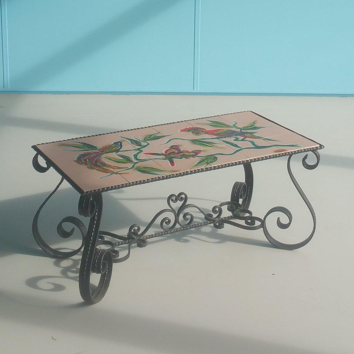 Couchtisch aus Eisen mit Keramikfliesen von Atelier Marino