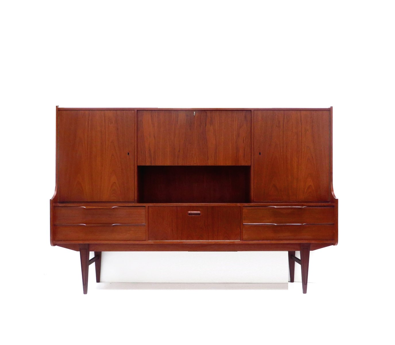 high vintage sideboard in teak for sale at pamono. Black Bedroom Furniture Sets. Home Design Ideas