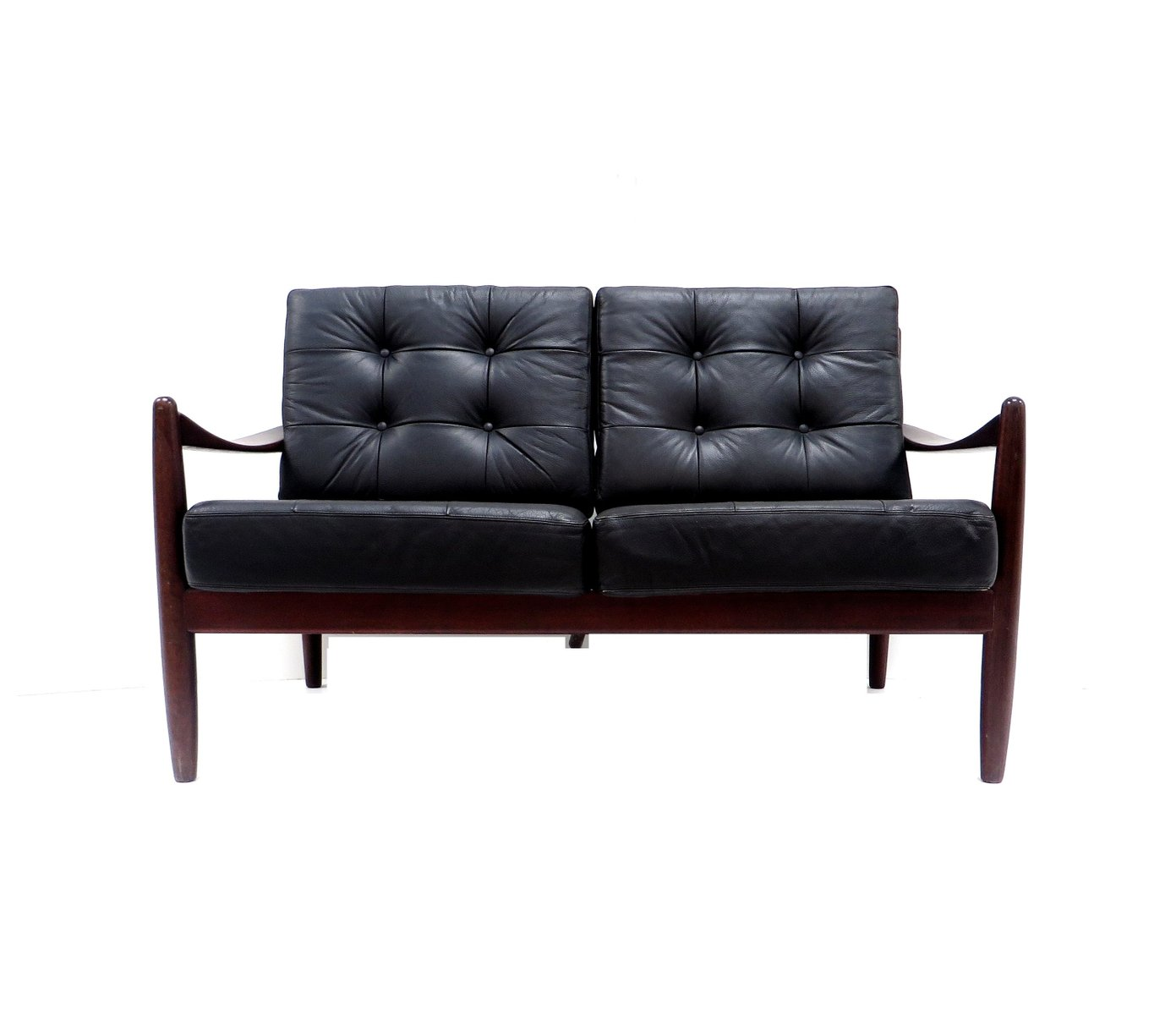 Danish leather 2 seater sofa for sale at pamono for 2 seater leather sofa