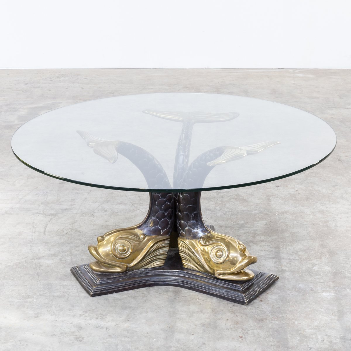 Italian Sculptural Brass Koi Fish Coffee Table, 1960s