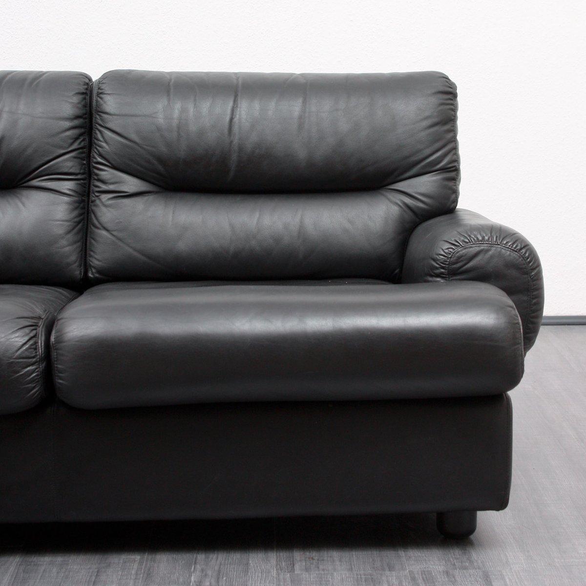 schwarzes vintage ledersofa 1970er bei pamono kaufen. Black Bedroom Furniture Sets. Home Design Ideas