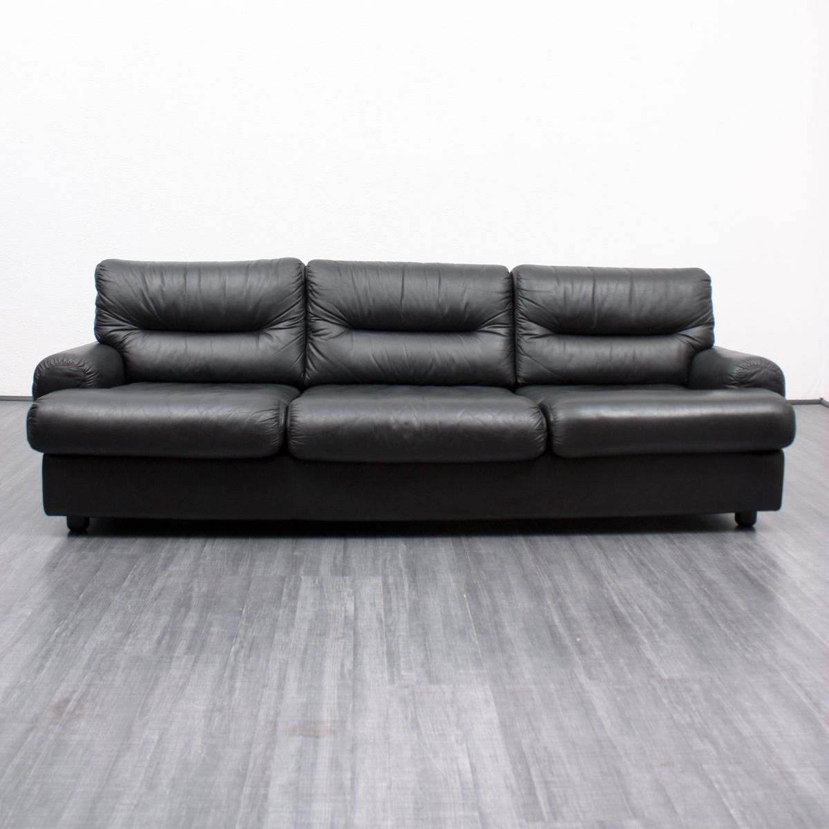 Vintage Black Leather Lounge Sofa 1970s For Sale At Pamono