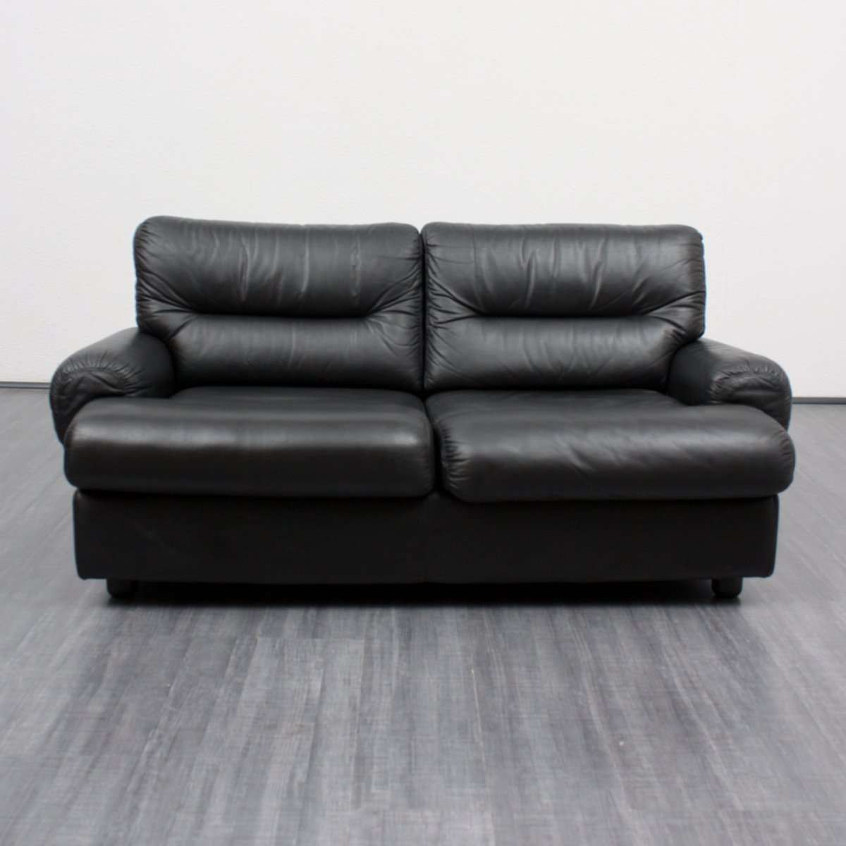 Vintage Black Leather 2 Seater Lounge Sofa 1970s For Sale