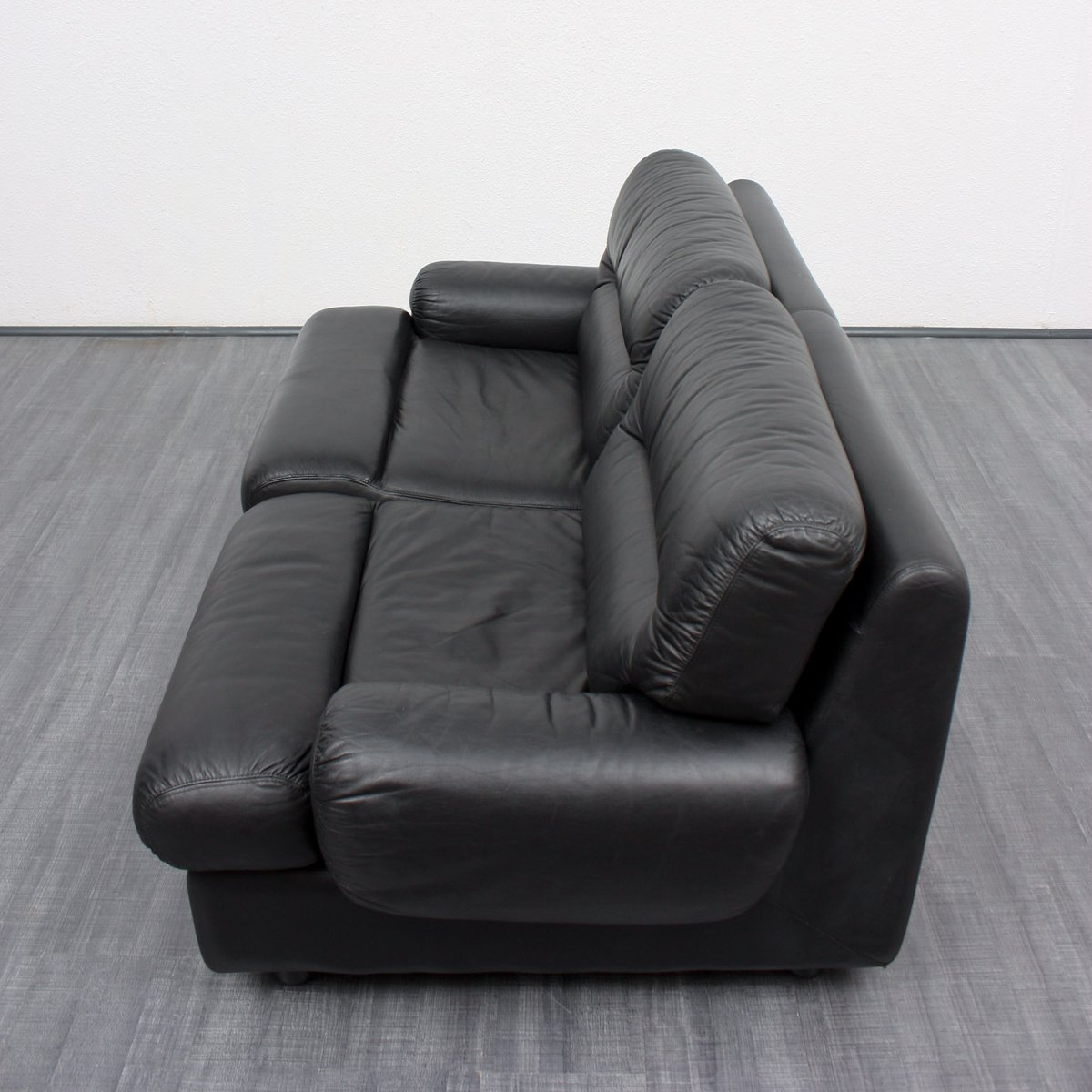 Vintage Black Leather 2 Seater Lounge Sofa 1970s For Sale At Pamono