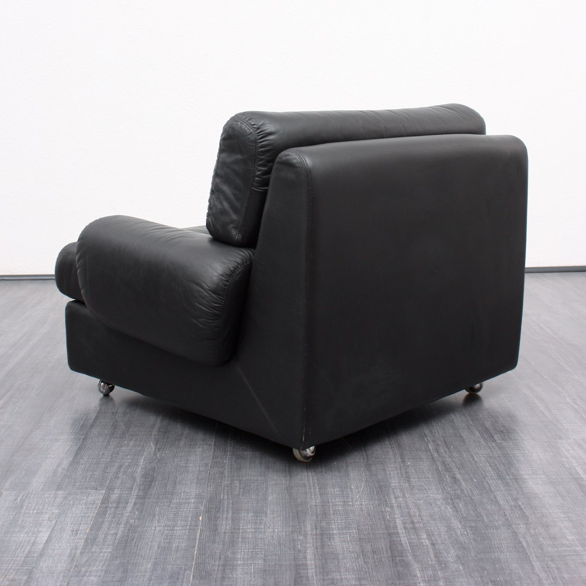 Vintage Black Leather Lounge Chair 1970s For Sale At Pamono
