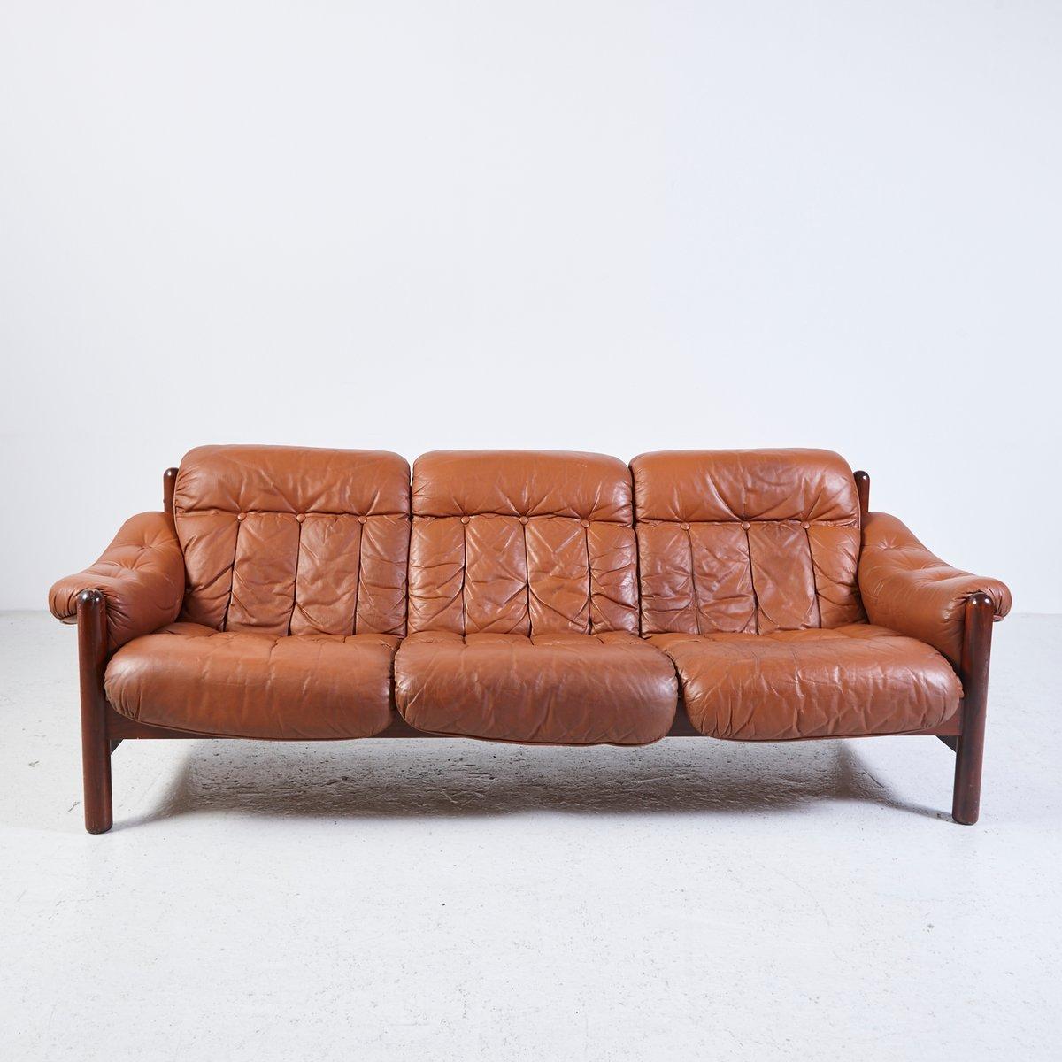 Vintage 3 Seater Leather Sofa With Teak Frame