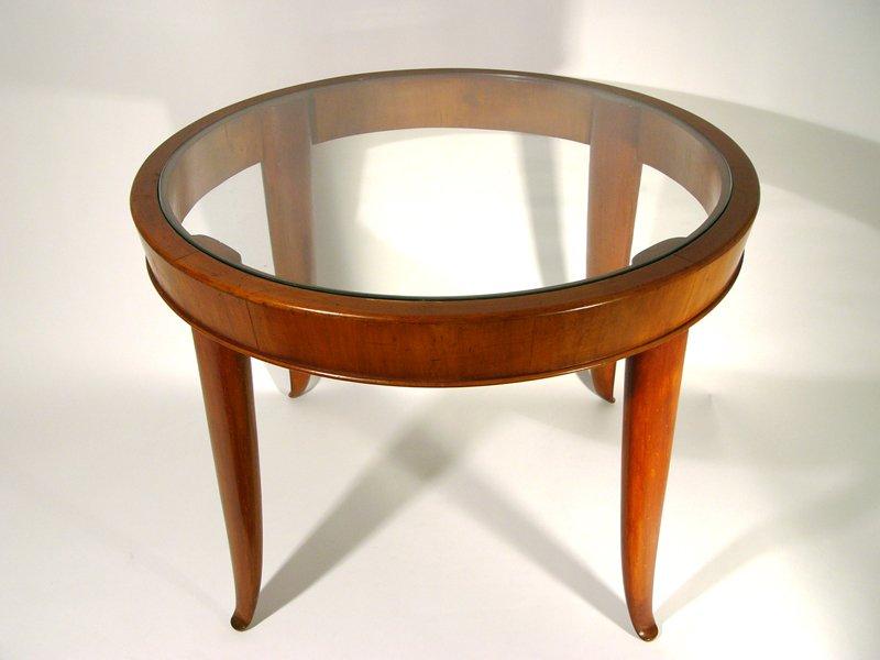 italienischer couchtisch aus holz glas 1940er bei. Black Bedroom Furniture Sets. Home Design Ideas
