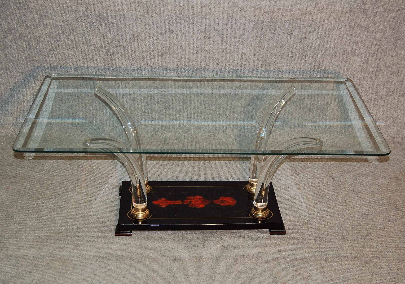 Italian Lacquered Wood and Glass Coffee Table 1970s for sale at