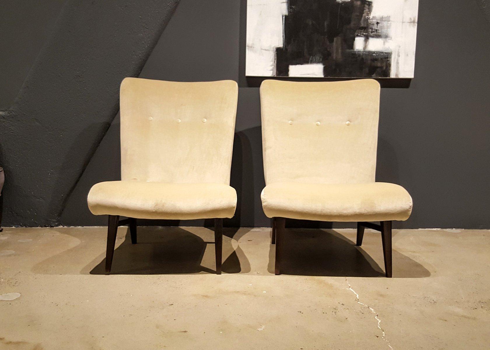 Swedish Slipper Chairs in Cream Colored Velvet 1950s Set of 2
