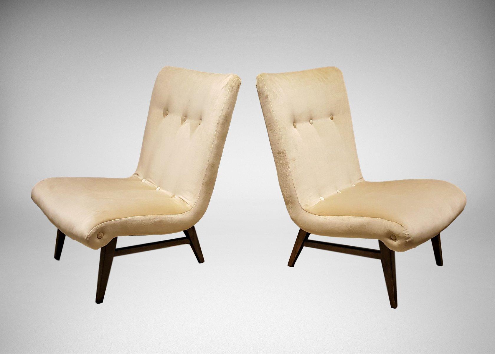 swedish slipper chairs in cream colored velvet s set of   - swedish slipper chairs in cream colored velvet s set of