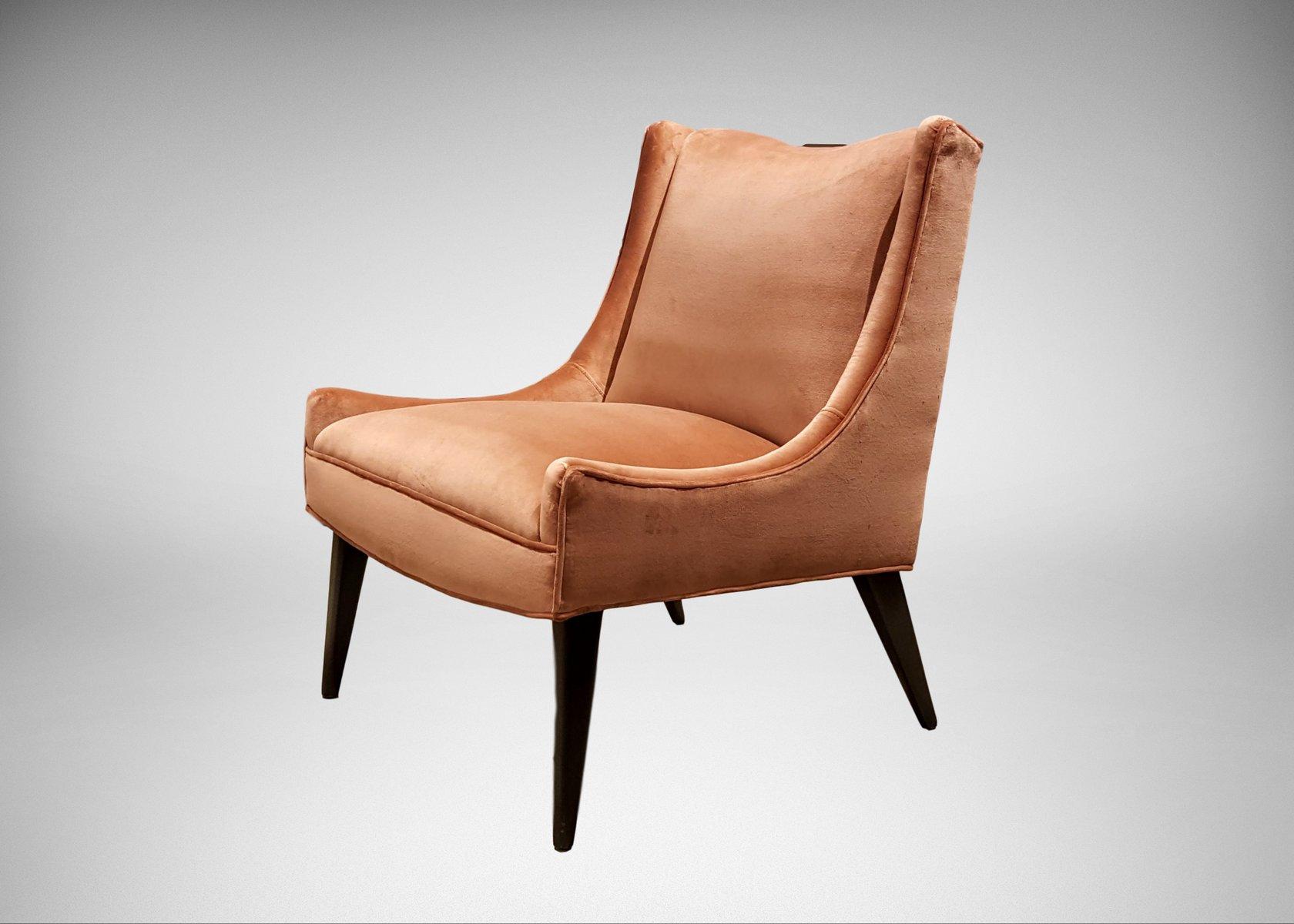 Slipper Chair in Rosy Salmon Velvet by Harvey Probber 1960s for