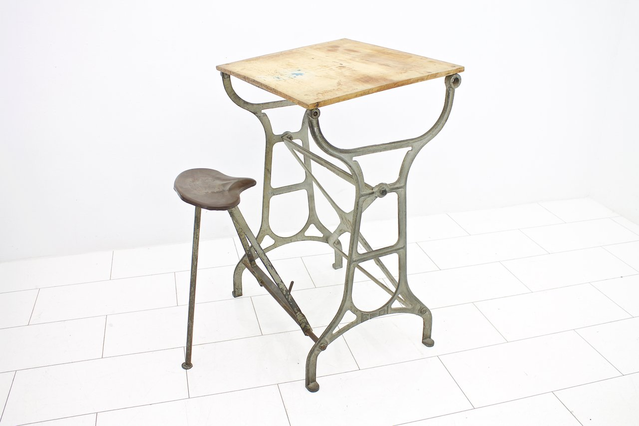 & Industrial Workbench with Folding Stool 1930s for sale at Pamono islam-shia.org