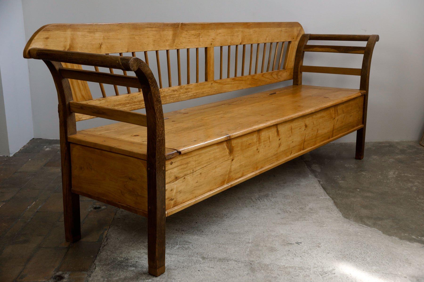 Large Softwood Biedermeier Kitchen Bench 1830s For Sale