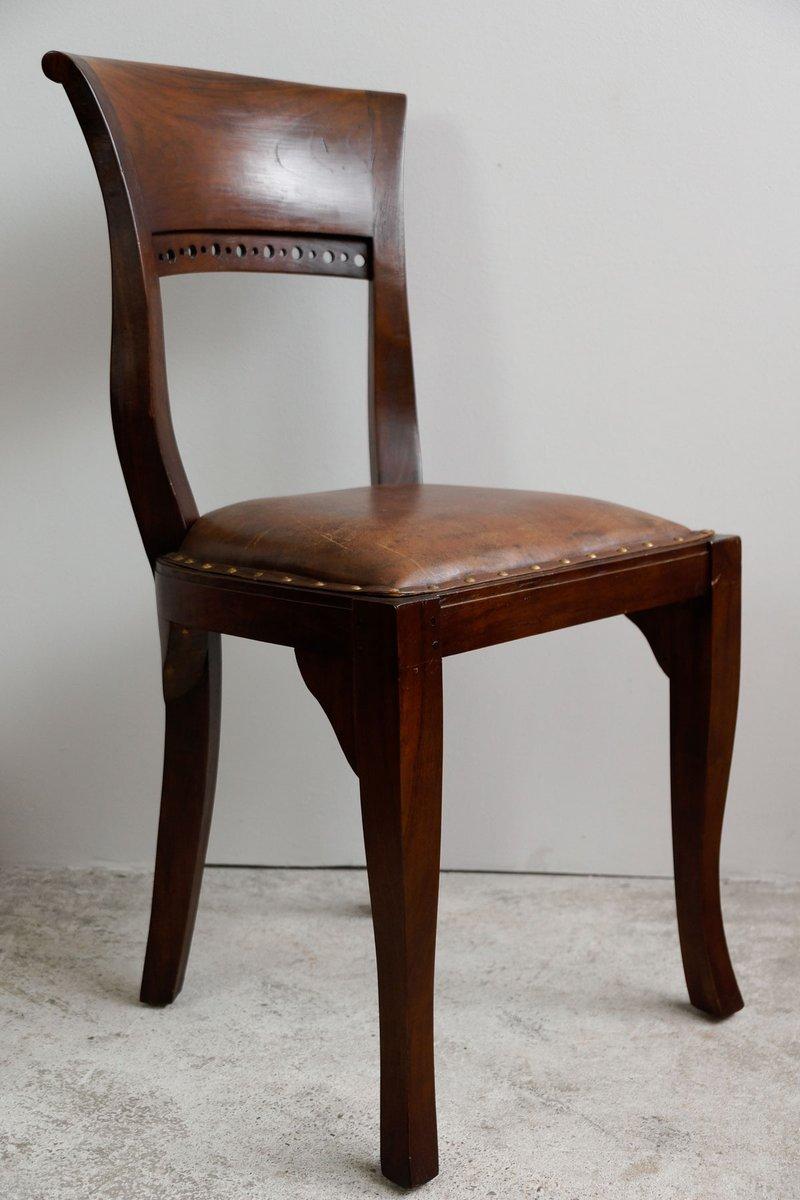 Englische Vintage Mahagoni U0026 Leder Esszimmerstühle, 4er .