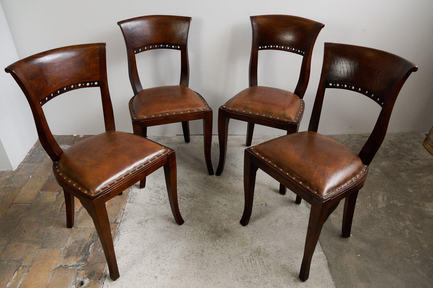 englische vintage mahagoni leder esszimmerst hle 4er set bei pamono kaufen. Black Bedroom Furniture Sets. Home Design Ideas