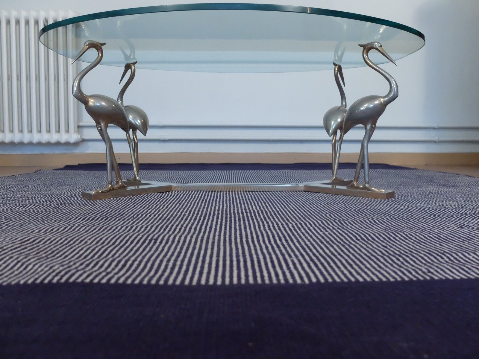 Brass Chrome Heron Coffee Table With Glass Top 1970s For Sale At Pamono