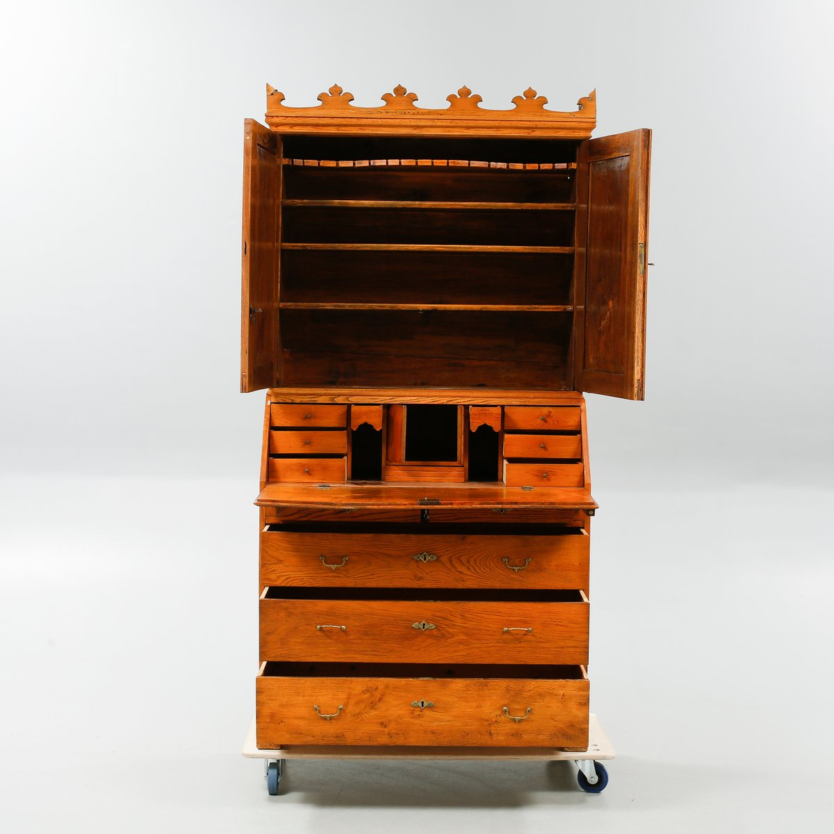 Price per piece. Antique Danish Secretaire with a Crown Shaped Top for sale at Pamono