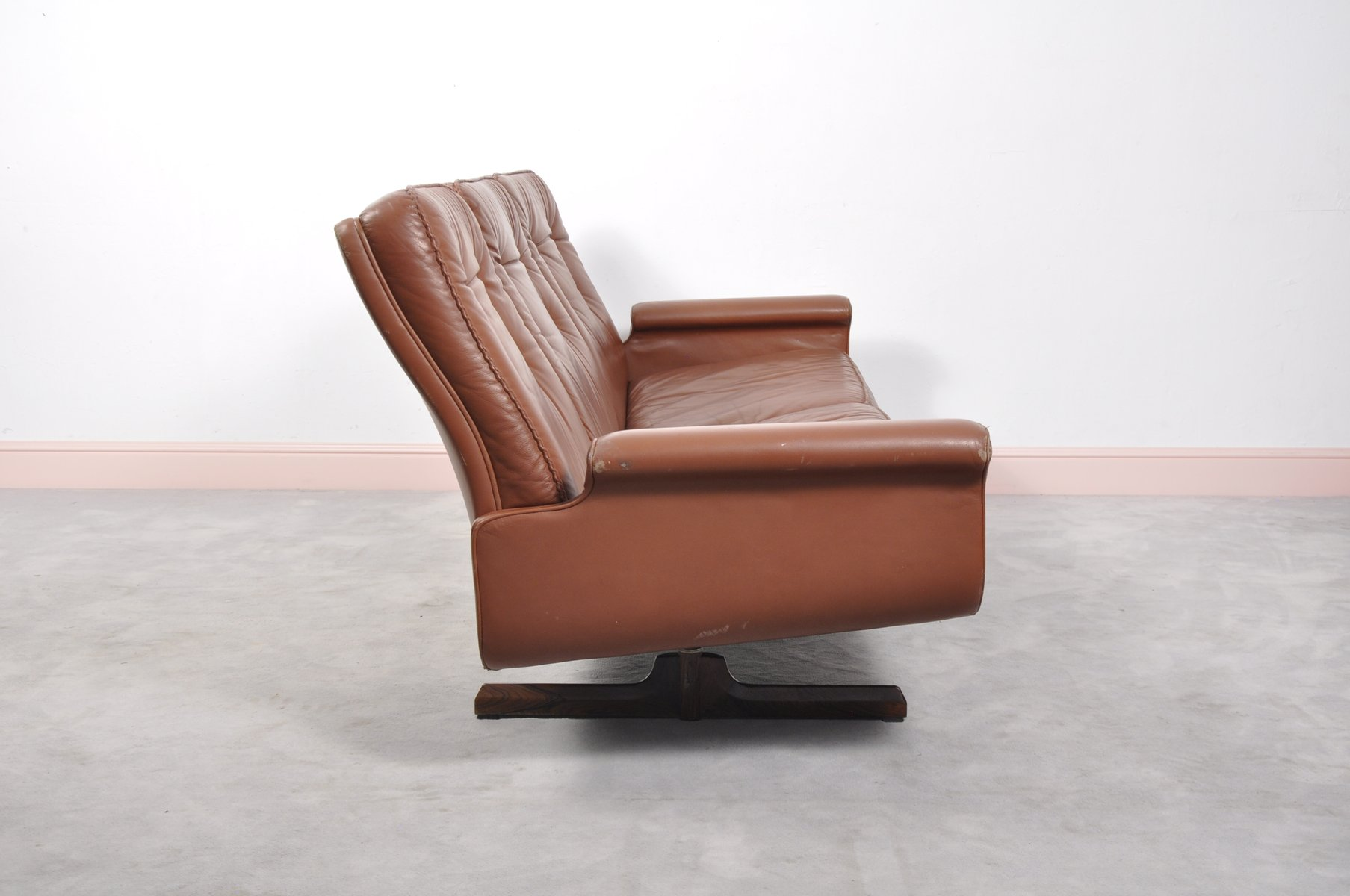Mid Century Modern Leather Sofa With Shaker Rosewood Legs