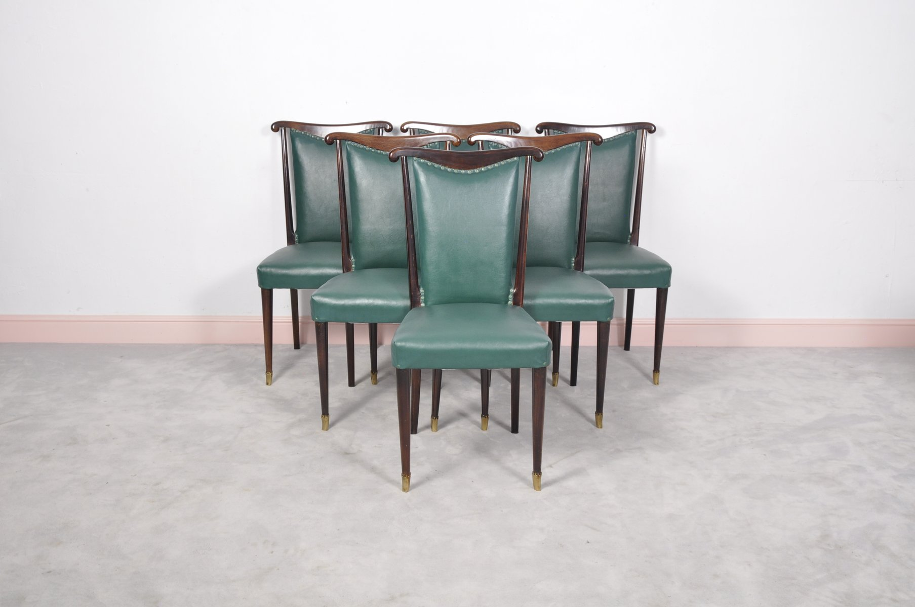 Italian Dining Chairs With Green Leather By Paolo Buffa
