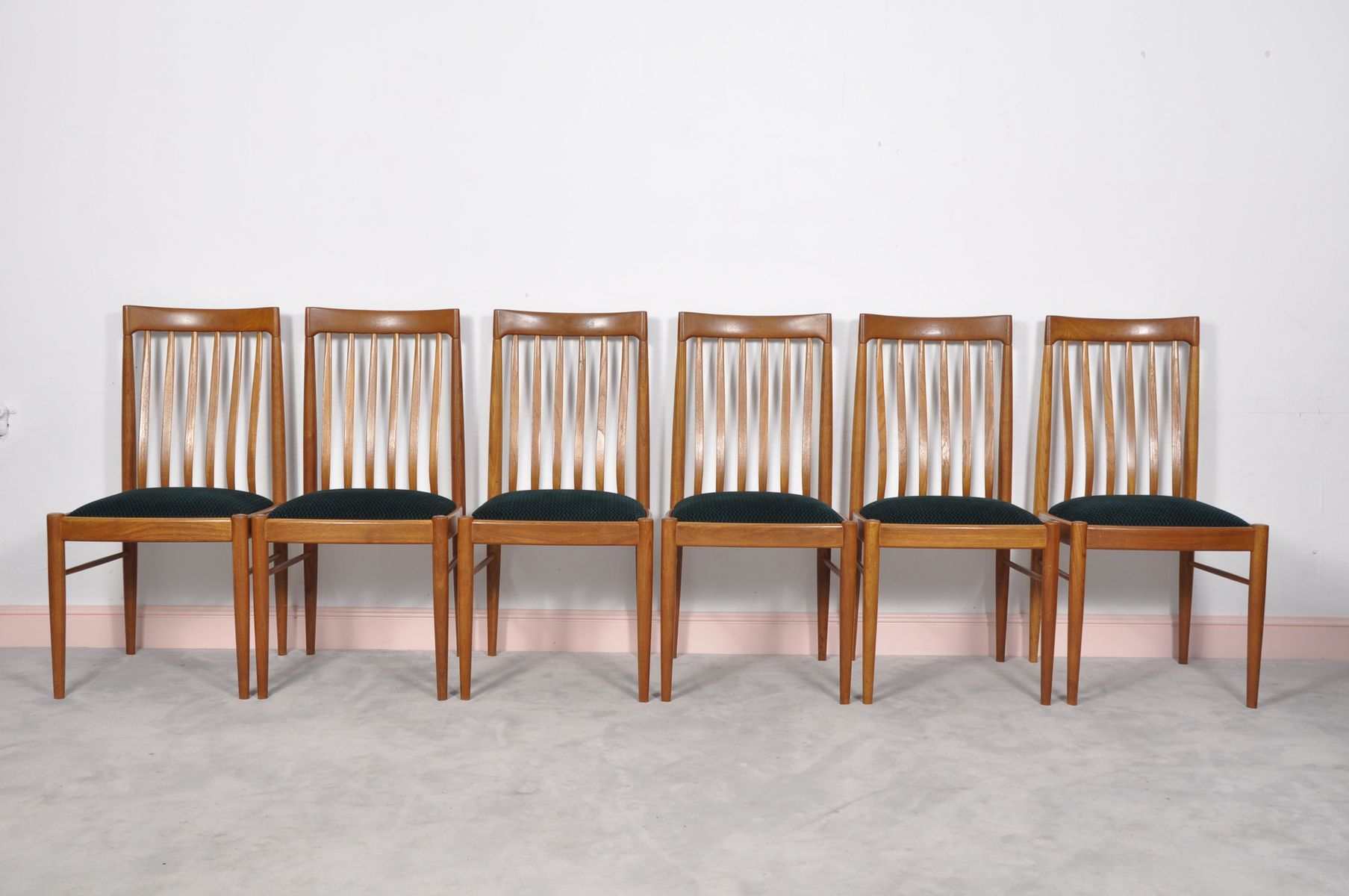 Green Danish Teak Dining Chairs by H W Klein for Bramin Set of