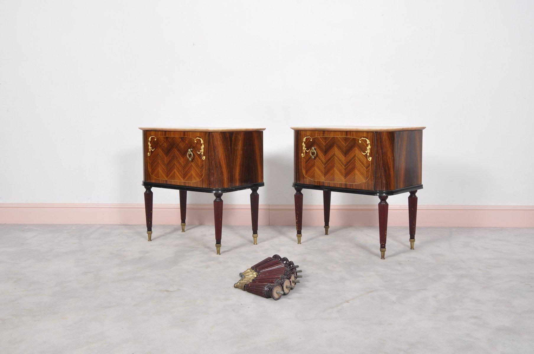 Tables de chevet en palissandre avec plateaux en marbre - Table de chevet marbre ...