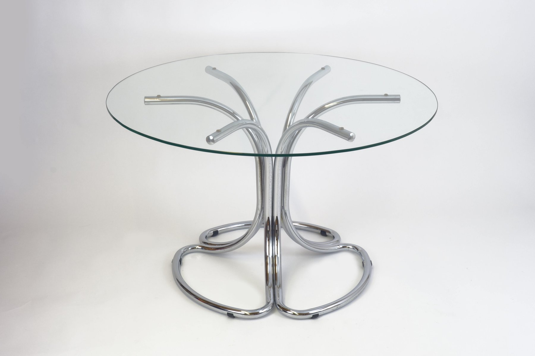 Home plisset italian designs clear glass dining table with aldo faux - Italian Vintage Dining Table With Round Glass Top 1970s For