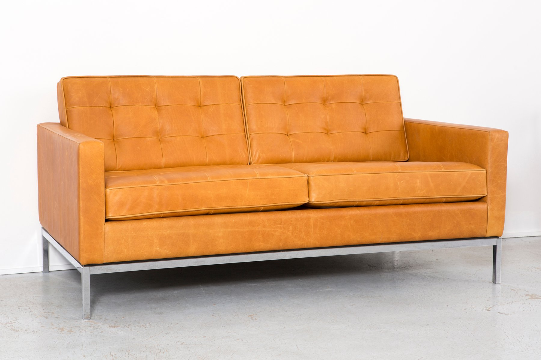 Leather Sofa by Florence Knoll Bassett for Knoll 1970s for sale