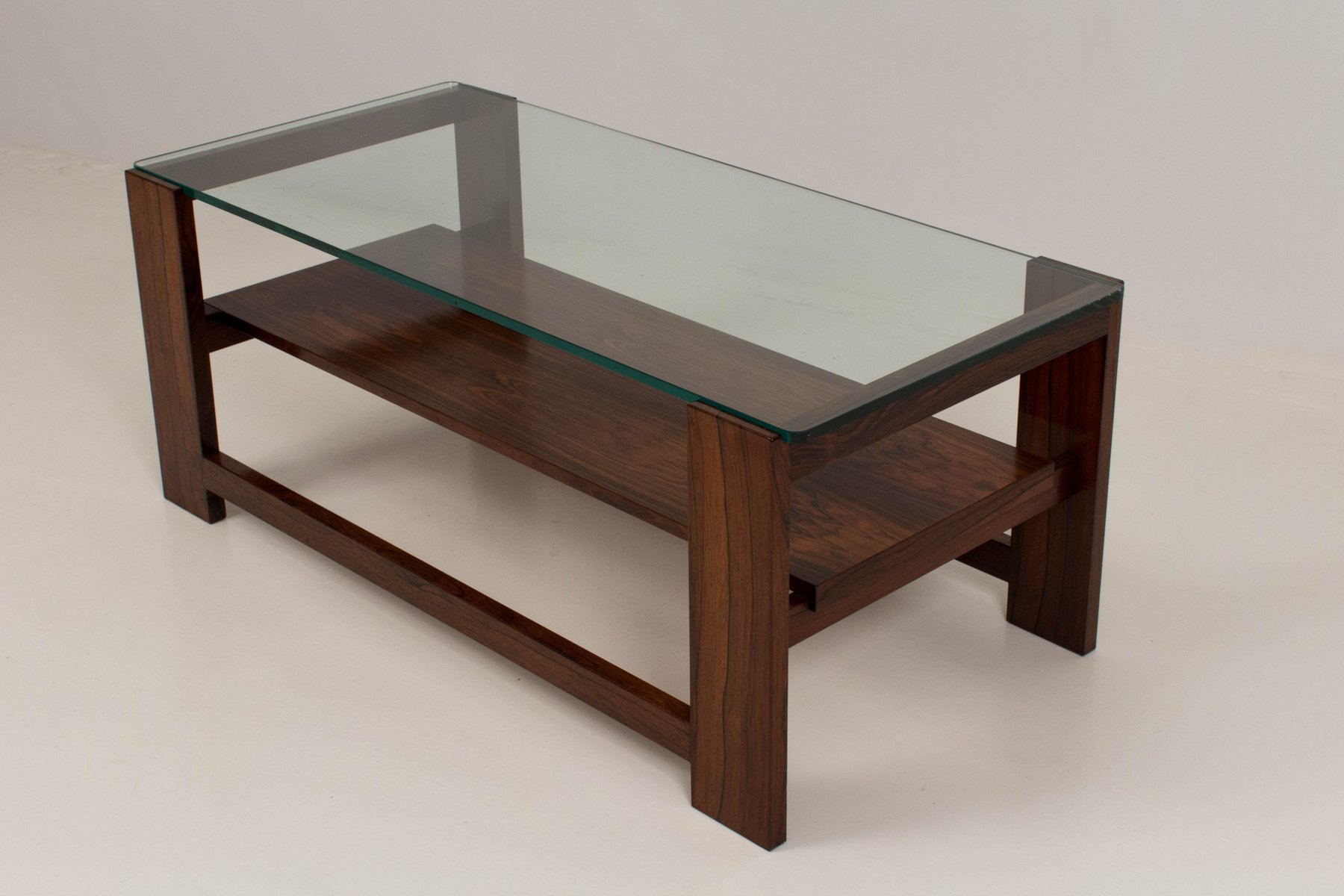 Dutch Rosewood & Glass Coffee Table 1960s for sale at Pamono