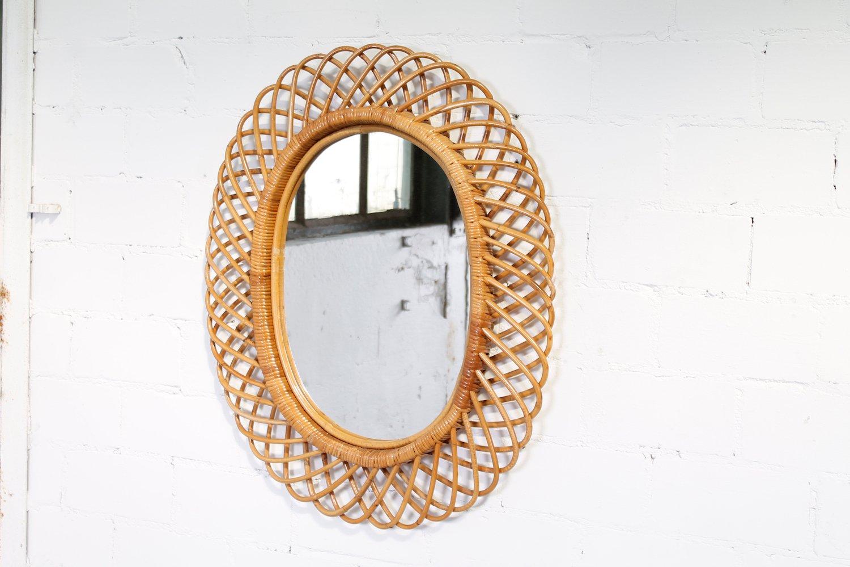 italian rattan u0026 bamboo mirror 1950s - Bamboo Mirror
