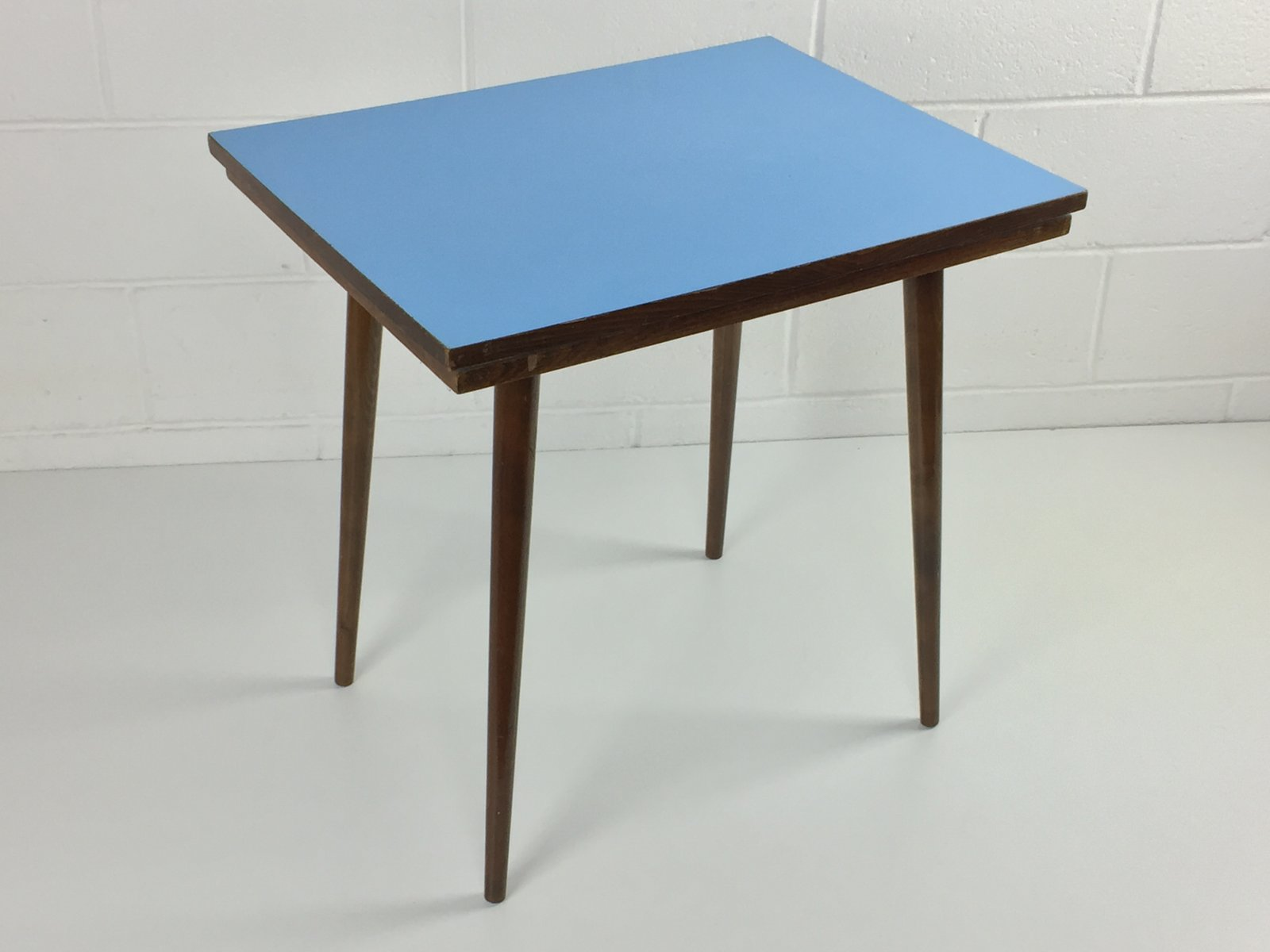 Mid Century Czech Beech & Blue Formica Coffee Table from Tatra